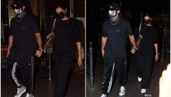 Deepika Padukone and Ranveer Singh twinning in black as they arrive at the airport