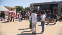 Fort Worth police and non-profit team work together to give away hundreds of sneakers to kids in need