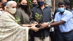 Actress Sonakshi Sinha adopted a tree with her parents Poonam and Shatrughan Sinha
