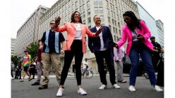 Kamala Harris makes history as the first sitting VP to march in a Pride event