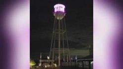 Rainbow lights return on Dallas's suburbs of Rowlett's water tower