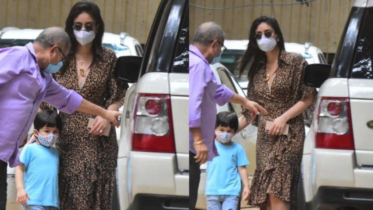 Kareena Kapoor Khan steps out with her little munchkin, Taimur Ali Khan wearing a mask