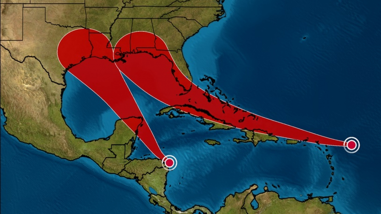 Tropical Depression 14 formed in the Caribbean and may become a tropical storm as it moves across the Gulf