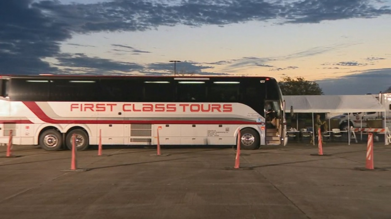 Buses with people evacuated from the Gulf Coast ahead of Hurricane Laura made their way to North Texas