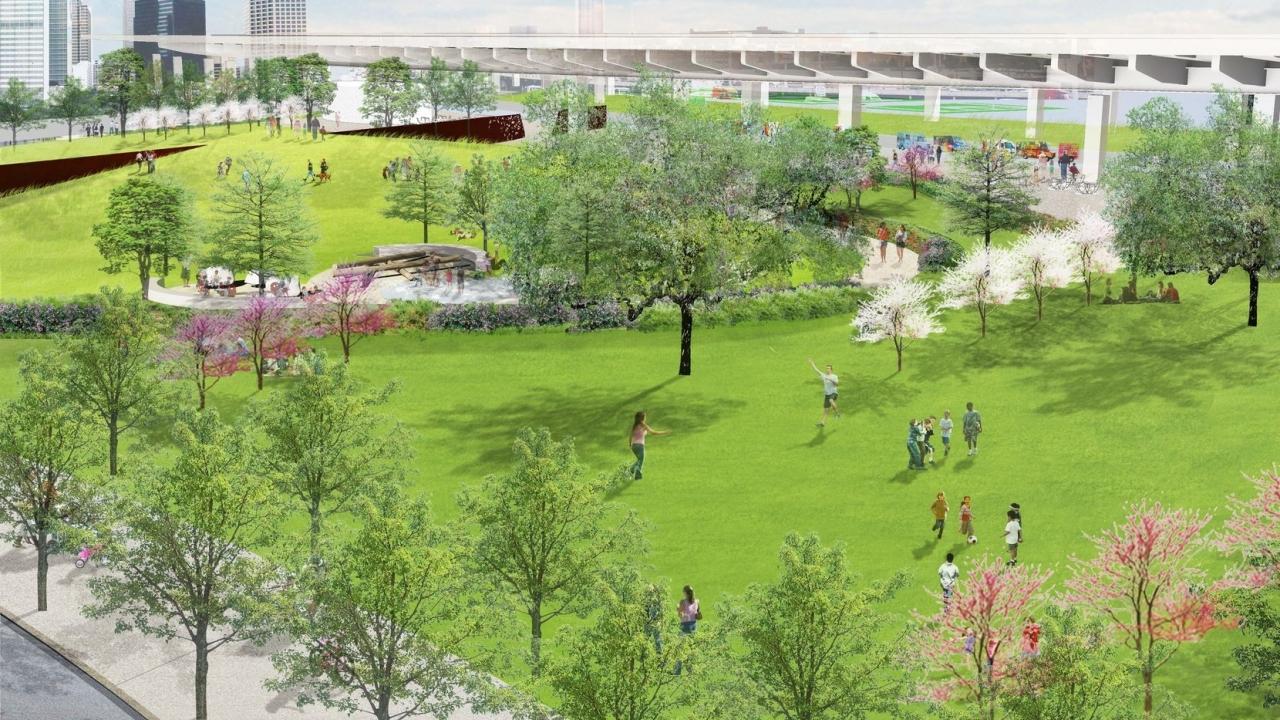 Construction begins for Public park under the highway