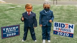 4-year-old twin girls pose as Trump and Biden on Halloween
