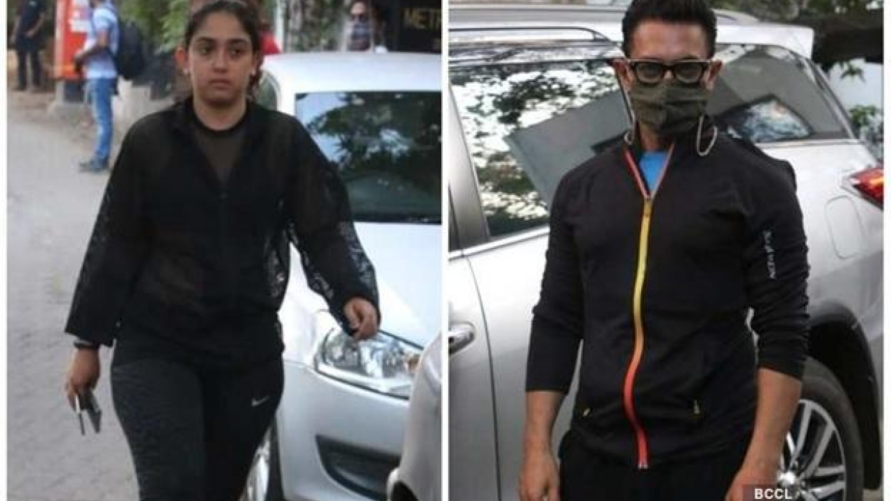Aamir Khan pictured outside birthday boy Imran Khan's residence with his daughter
